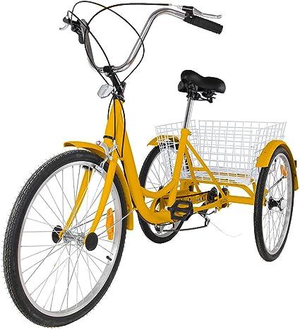 Adult Tricycle 24/'/' 7-Speed 3 Wheel Yellow Trike Shopping Bike Riding W// Basket