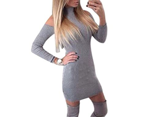 VDSKLG knitted dress Woman Gray Mock Neck Cold Shoulder Knit Long Sleeve Dress Invierno