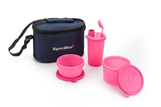 Signoraware Combo Small Executive Lunch with Bag, Pink Lunch Boxes