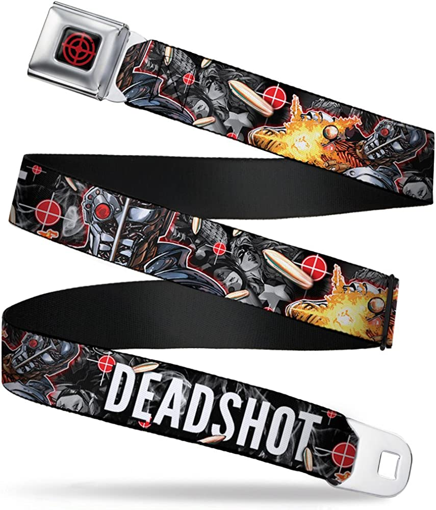 DEADSHOT Face//Pose//Targets//Bullets Buckle-Down Seatbelt Belt 1.5 Wide 24-38 Inches in Length