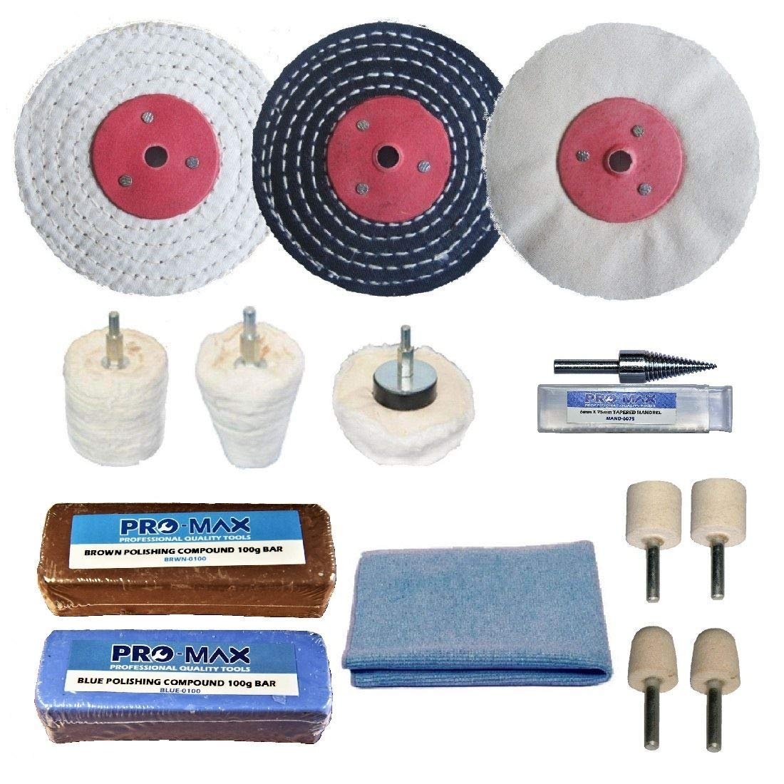 Aluminium Alloy Brass Metal Polishing Buffing Kit Pro-Max 3' x 1/2' Metal Polishing Supplies UK Ltd