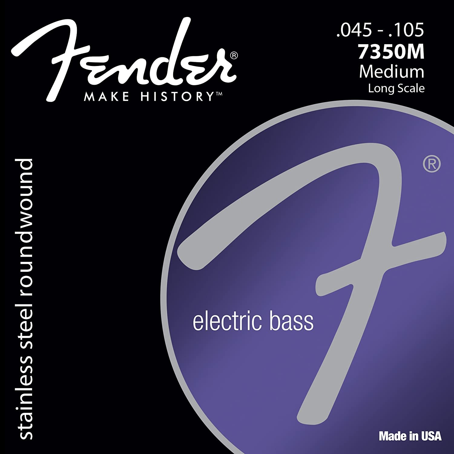 Fender 7250M Nickel Plated Steel Roundwound Long Scale Electric Bass Guitar Strings - Medium 073-7250-406