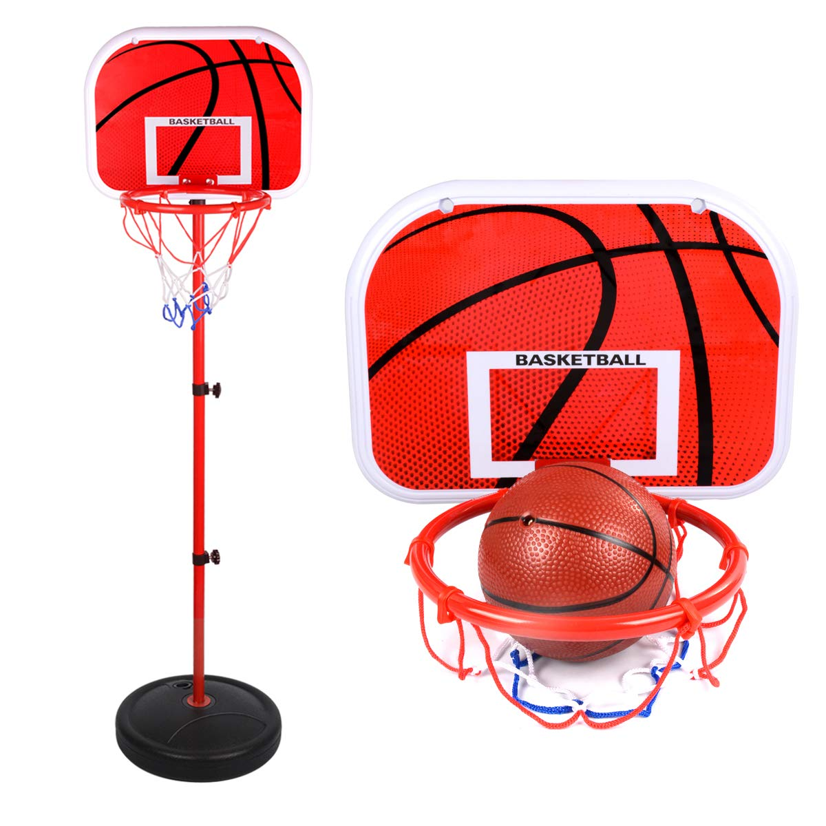 Oucles Adjustable Basketball Hoop Stand Set Sports Toy Game Portable Basketball Stand and Hoop Including Pump Indoor Outdoor Toys Height Up to 60 inch for Toddler Kids Children