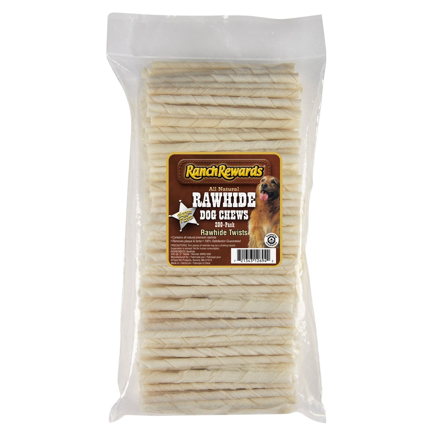 200- Pack Ranch Rewards Natural Rawhide Twists — Satisfying Chews for Dogs 5 , 200-Pack