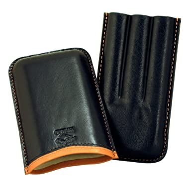 Cigar Case Black Leather Cases Cuban Crafters Roma Black Saddle 3 Cigars