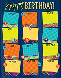 Eureka Plaid Multicolor Student Birthday Chart for Classrooms, 17'' x 22''