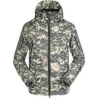AUmansmoer Men's Camo Hooded Fleece Lined Water Resistant Softshell Jacket Camping Hiking Golf Outdoor Sports…