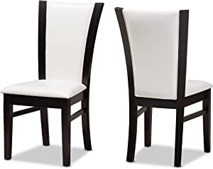 Baxton Studio Tamino Modern and Contemporary Dark Brown Finished White Faux Leather Dining Chair