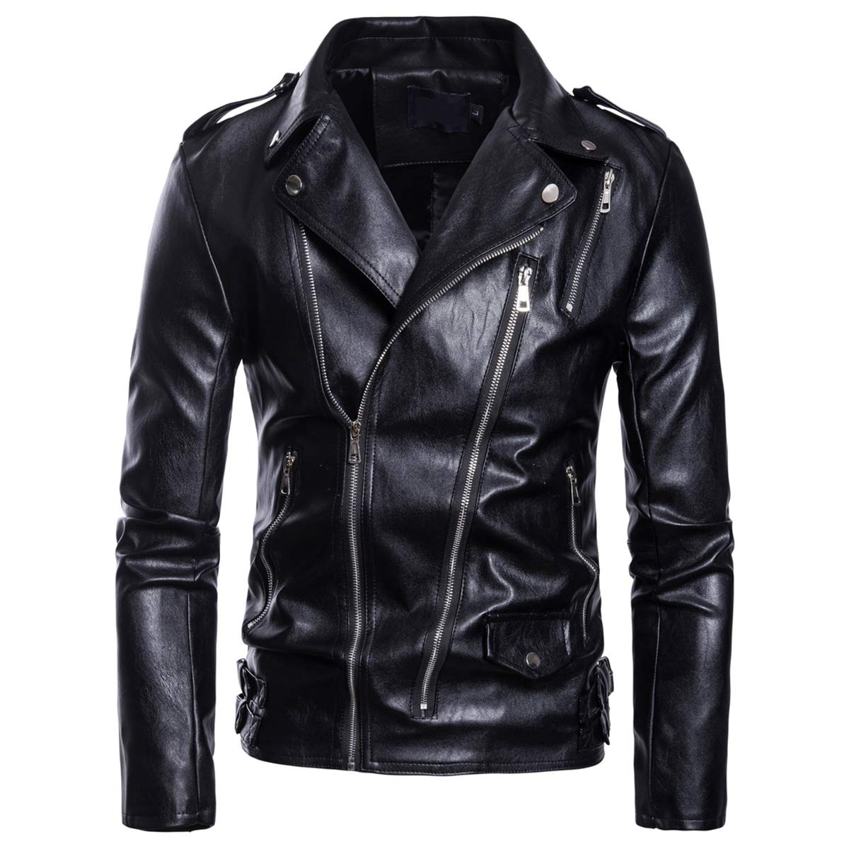 AOWOFS Men's Faux Leather Jacket Motorcycle Lapel Bomber Punk Irregular Zipper Jacket Black Slim by AOWOFS