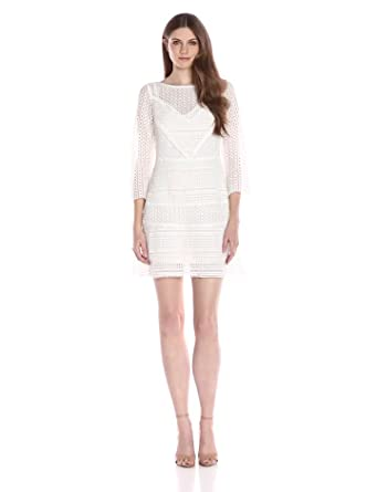 Tracy Reese Women's Three-Quarter-Sleeve Geometric Lace Dress, Calla Lily, 0
