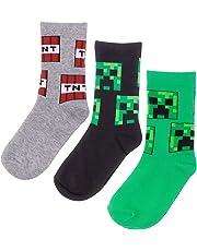 Vanilla Underground Minecraft Creeper Assorted 3 Pack Boy's Socks