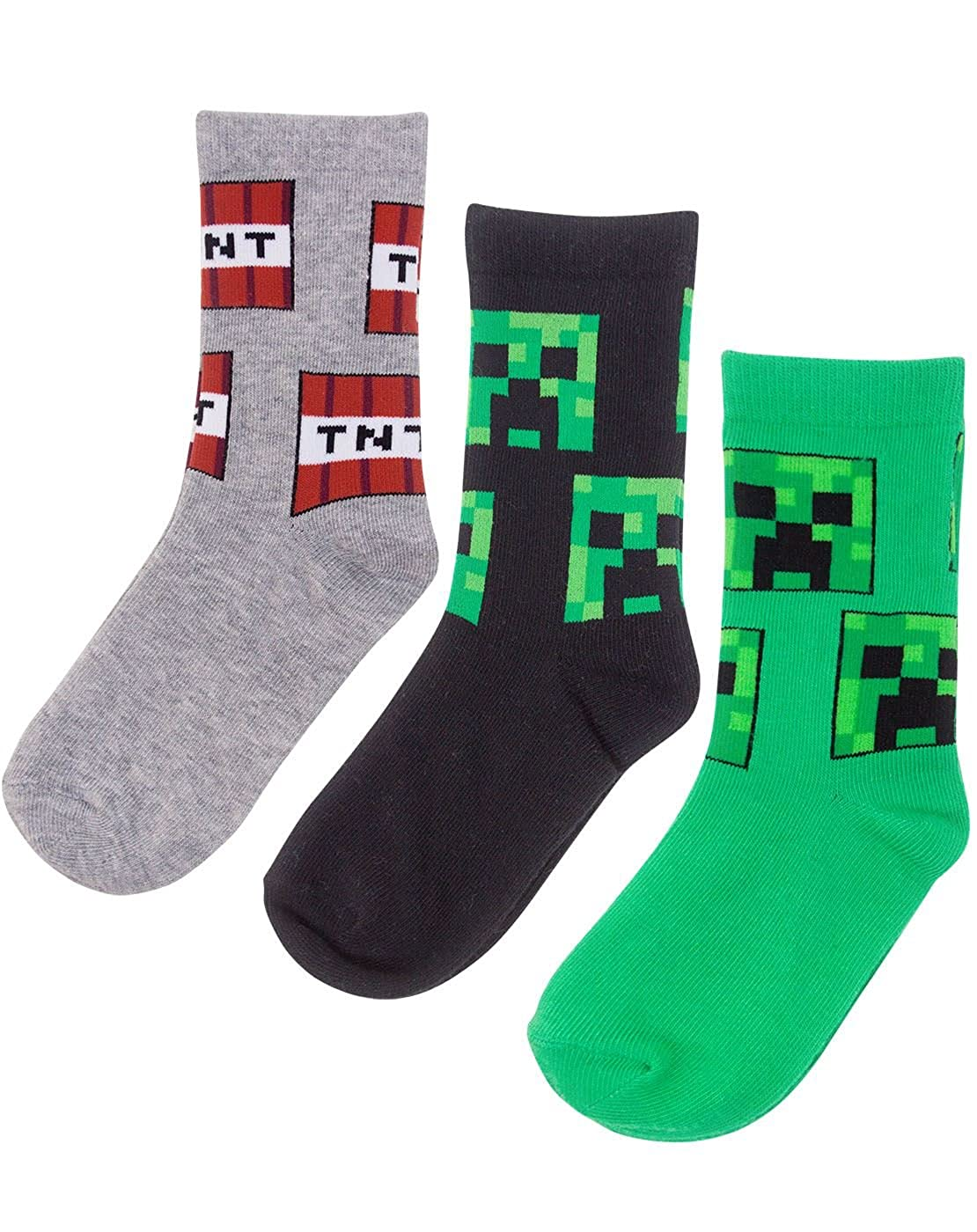 Minecraft Creeper Assorted 3 Pack Boy's Socks TV Mania