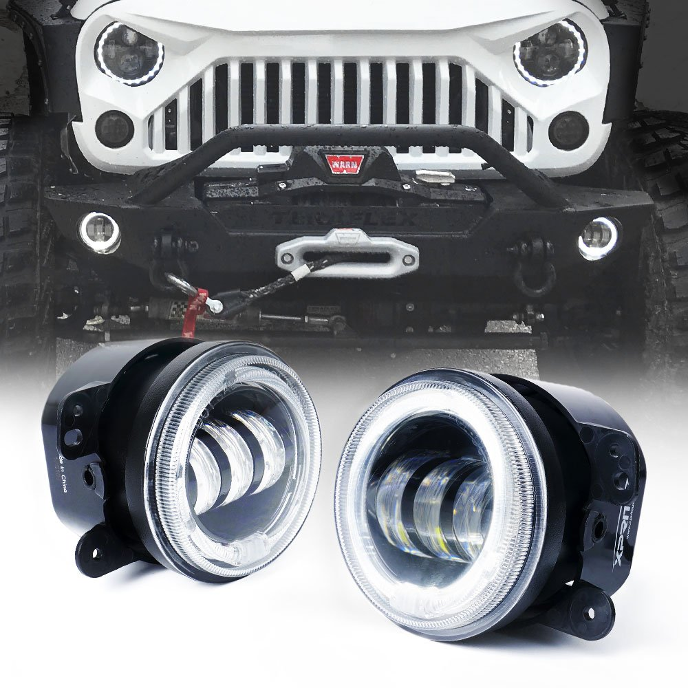 Xprite 4 Inch 60w Cree Led Fog Lights W White Halo Ring Outside Fuse Box Diagram 1997 Jeep Wrangler Drl H16 Adapter For 07 18 Jk Off Road Lamps Automotive