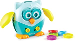 Learning Resources Hoot the Fine Motor Owl, Color, Shapes and Number Development, 6 Pieces, Ages 18 Months +