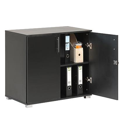 Armario archivador de almacenamiento y extensión de escritorio en color negro para uso doméstico o comercial