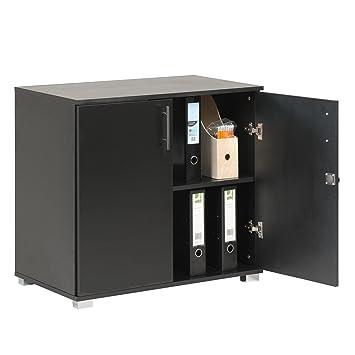 Meuble De Rangement Bureau Noir.Meuble De Rangement Et Extension De Bureau En Noir Usage