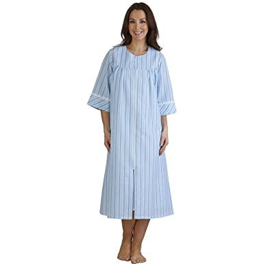Ladies Lightweight Seersucker Stripe Dressing Gown Zip Up 3/4 ...