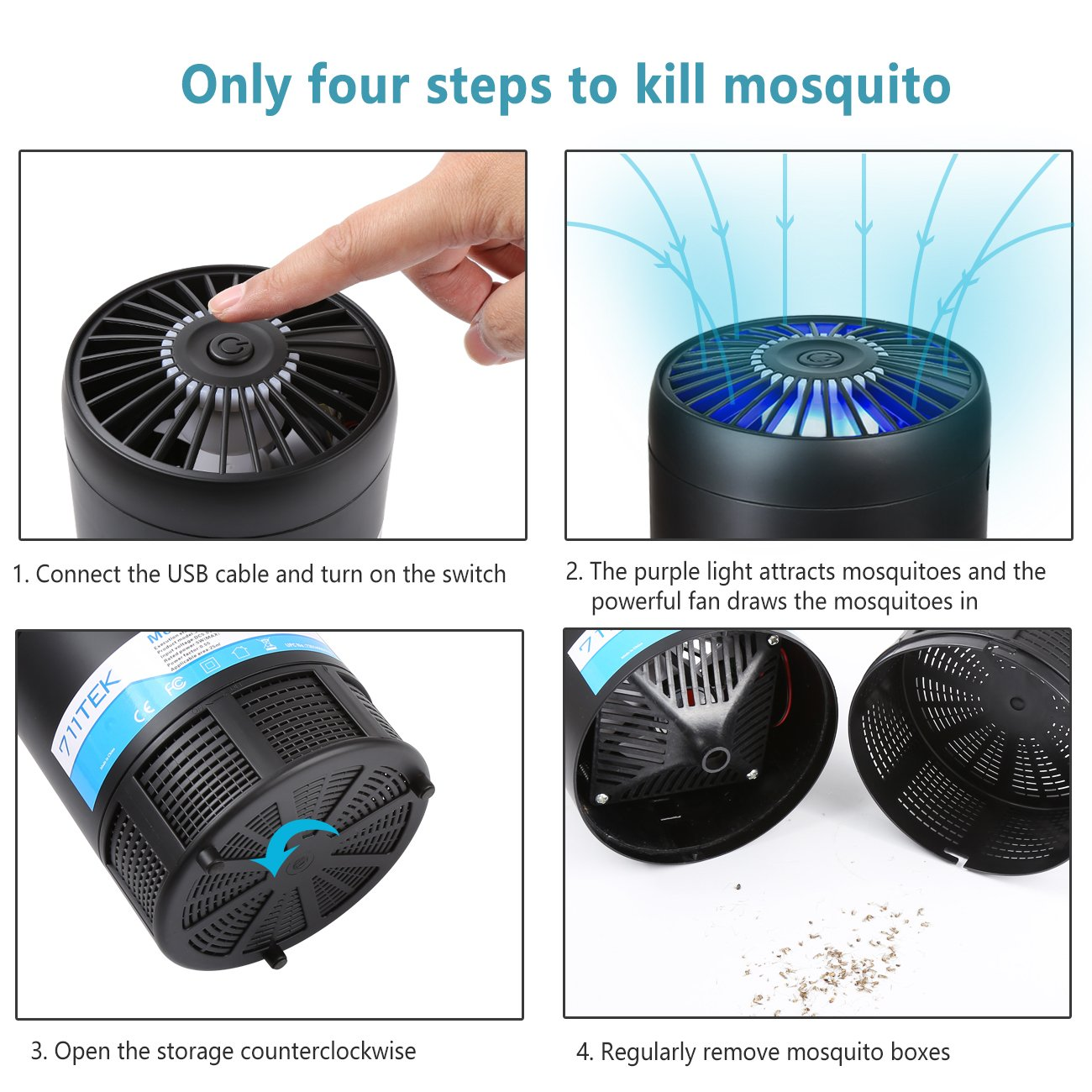 711TEK Moaquito Killer, USB Powered Non-toxic UV LED Insect Killer, Electronic Mosquito Trap Lamp, Bug Zapper with Eco-friendly for Indoor & Outdoor Use Black