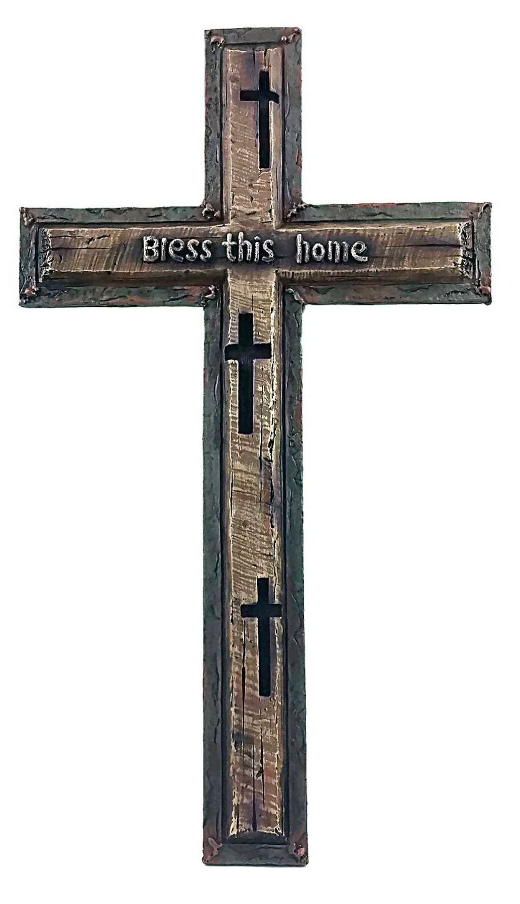 ''Bless This Home'' Wall Cross, 16 x 9'', Hand-crafted, Hand-painted resin.