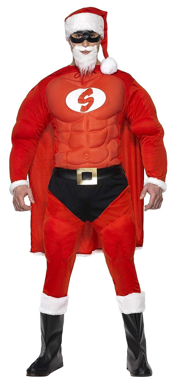 Smiffys, Herren Superfitter Weihnachtsmann Kostüm, Mütze, Augenmaske, Umhang, Muskel-Oberteil, Gürtel, Hose mit aufgenähtem Slip und Überschuhe, Größe: L, 36214