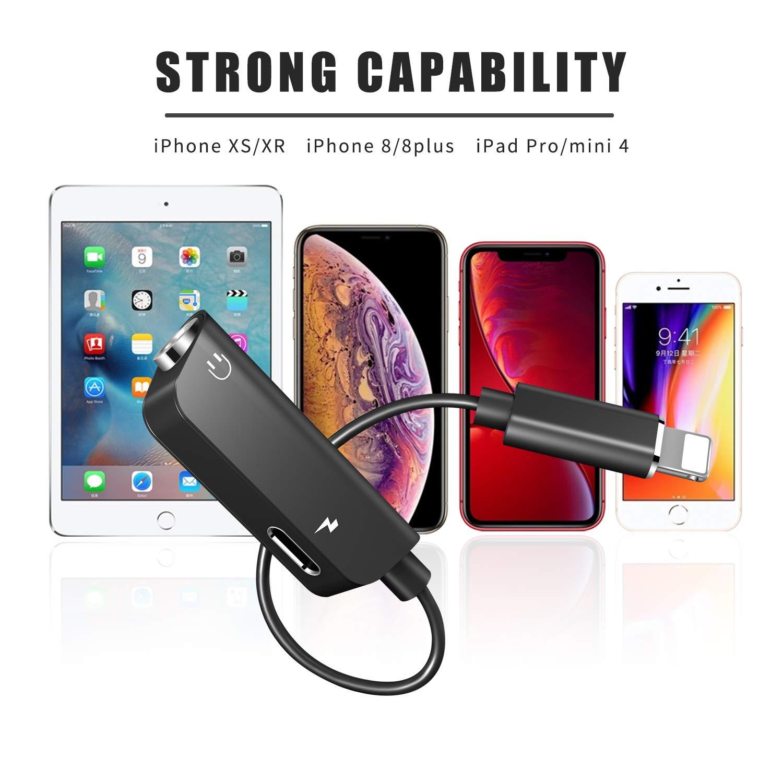 Adaptateur Jack pour iPhone 7, Adaptateur de Casque Aux Jack 3.5 mm Prise de Casque Splitter Compatible iPhone 7/7 Plus/8/8 Plus/XS/XR 2 en 1 Adaptateur pour iOS 12