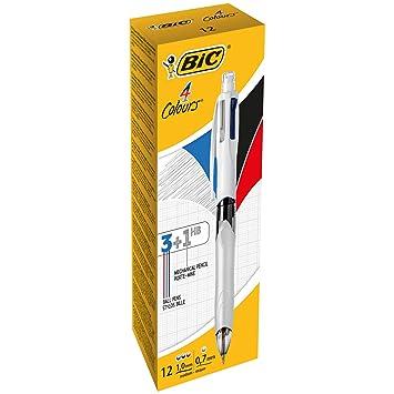 BIC 4 Colores - Caja de 12 bolígrafos multifunción 3+1HB, tintas en color
