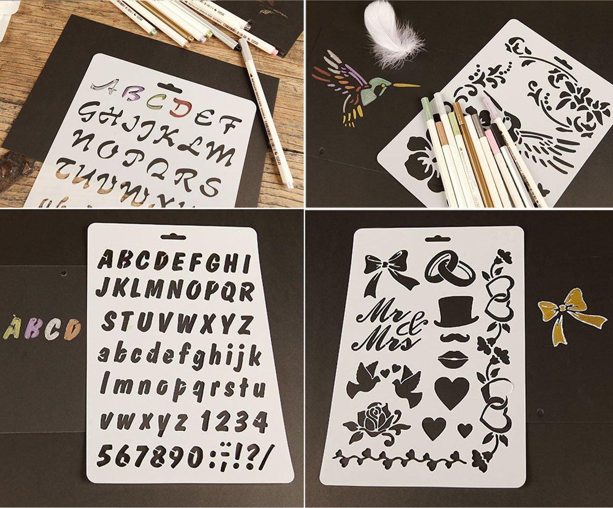 sunswei 8/PCS Bullet Tagebuch-Sets Schablone Alphabet Buchstabe Zeichnen Malen Schablonen Template f/ür Planer//Notizbuch//Tagebuch//Scrapbooking//Journaling//Graffiti//Karte Zeichnen Malen Craft Projekte