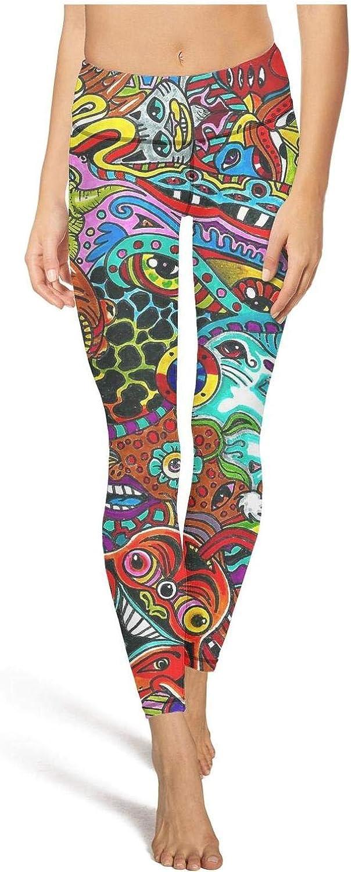 Womens Trippy Sunflower Moon Sun Yoga Pants Stretch Yoga Pant Trendy Leggings