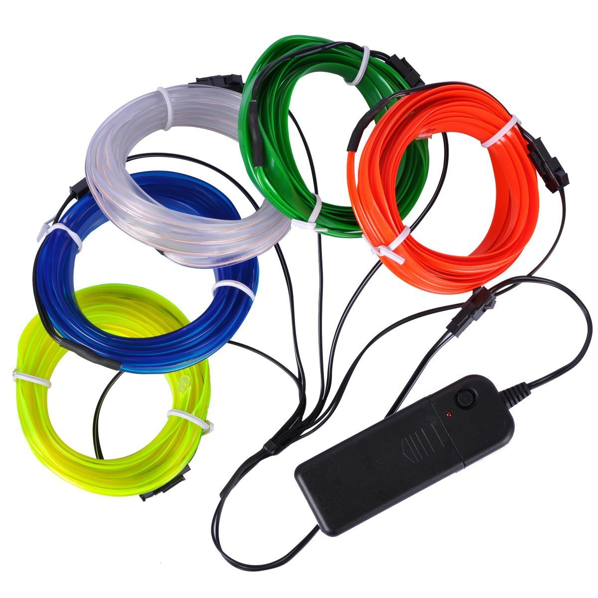 EL Wire Kit, AutoEC 5x3m Neon Light, Glowing Strobing Electroluminescent Wire for Party Car Interior Cosplay Halloween Christmas Decoration (White, Blue, Red, Yellow & Green)