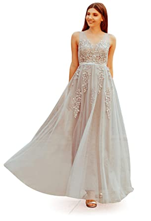 091fc776a14 Ever-Pretty Women Fashion V Neck Sleeveless Long Evening Party Dress Grey 04