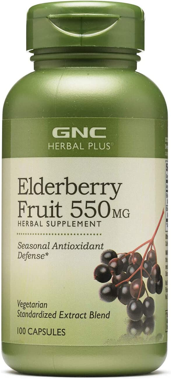 GNC Herbal Plus Elderberry Fruit 550mg, Capsules, 100 ea