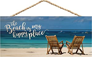P. Graham Dunn The Beach is My Happy Place Printed 10 x 4.5 Wood Wall Hanging Plaque Sign