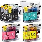(増量タイプ) Brother LC211 ブラック増量 5色セット 互換インク 【バウストア】