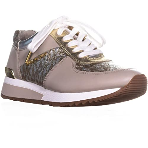 249e1b512472 Michael Kors Michael by Allie Taupe Leather with Glitter Effect Trainer  38.5 Silver/Gold