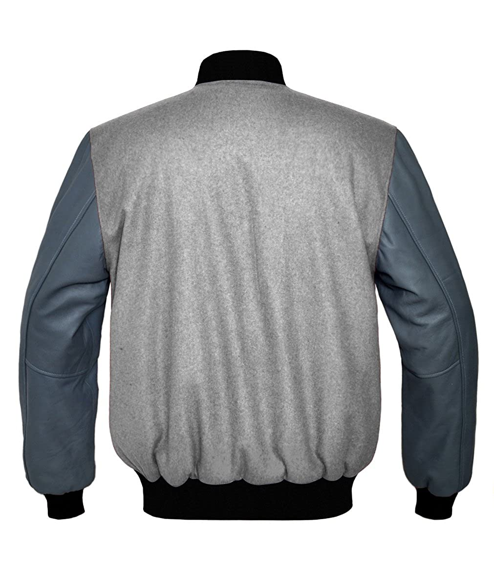 luvsecretlingerie Original American Varsity Real Grey Leather Letterman College Baseball Kid Wool Jackets #G-B-G