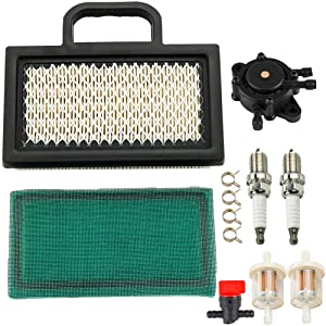MIU11286 Air Filter with LG808656 Fuel Pump Tune-Up Kit for John Deere LA120 LA130 LA135 LA140 LA145 LA150 X130R X140 X155R X165 D130 D140 L111 L118 L120 Lawn Mower Tractor Snow Blower