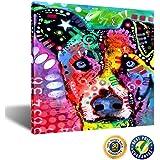 Creative Art - Abstract Dog Art Prints,Colorful Pet Canvas Wall Art, Framed Animal Canvas Print Ready to Hang 24''x24''