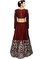 Palli Fashion Women's Satin Dress Material (PRACHI RED_Free Size_Multi-Coloured)