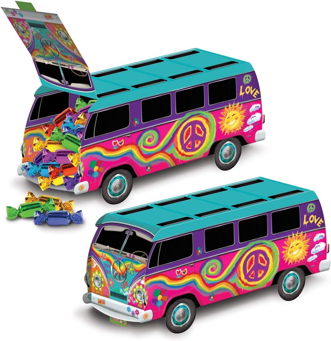 "Beistle 3-D 60's Bus Centerpiece, 9.75"", Multicolored"