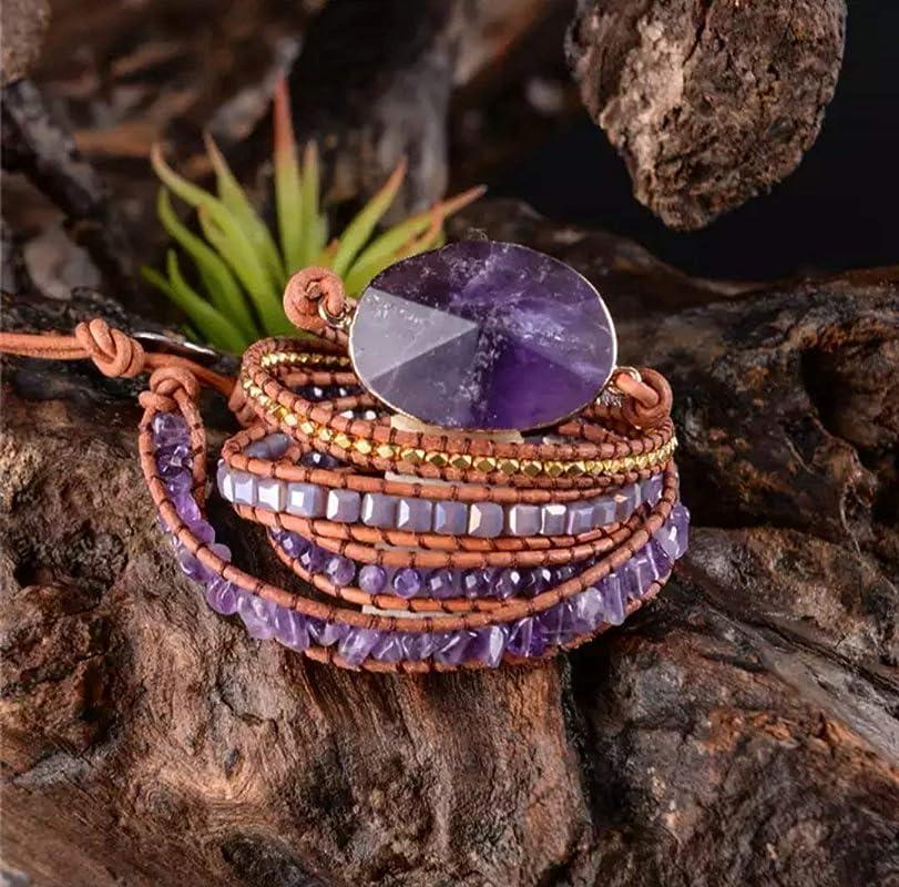 handmade raw gemstone bracelet Amethyst /& Labradorite crystal UK pastel purple stone bracelet Amethyst bracelet February birthstone
