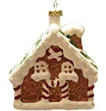 """Northlight 3.75"""" Merry & Bright White and Brown Glitter Shatterproof Gingerbread House Christmas Ornament"""