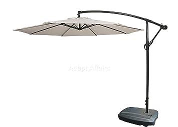 Invezo Impression Luxury Side Pole Patio Umbrella 9 ft Diameter White with Water Base - Garden Umbrella/Outdoor Umbrella/Large Umbrella/Resort Umbrella/Terrace Umbrella/Lawn Umbrella/Patio Umbrella