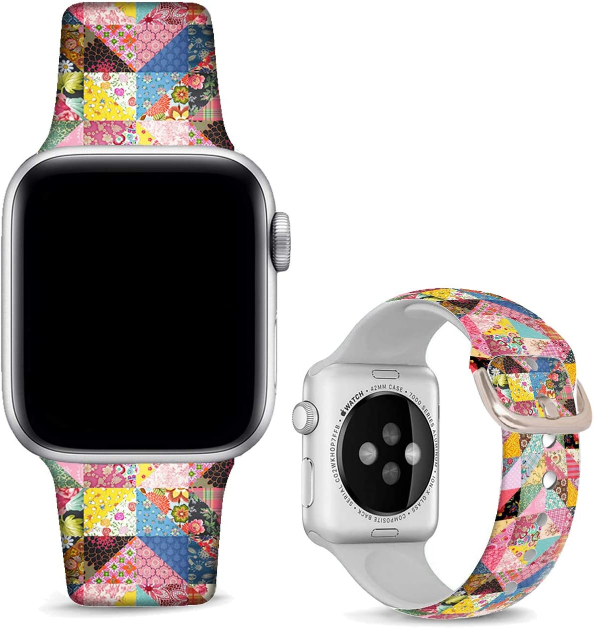 DOO UC Christmas Floral Watch Bands Compatible with Apple Watch 38mm/40mm, Floral Chevron Silicone Fadeless Pattern Printed Replacement Bands for iWatch Series 5 4 3 2 1