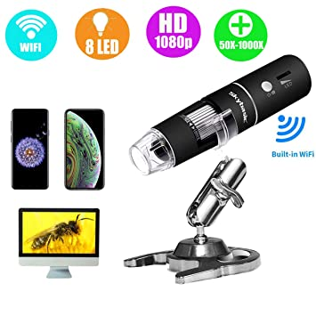 Wireless Digital Microscope, Skybasic 50X to 1000X WiFi Handheld Zoom  Magnification Endoscope Camera Magnifier 1080P FHD 2 0 MP 8 LED Compatible  with