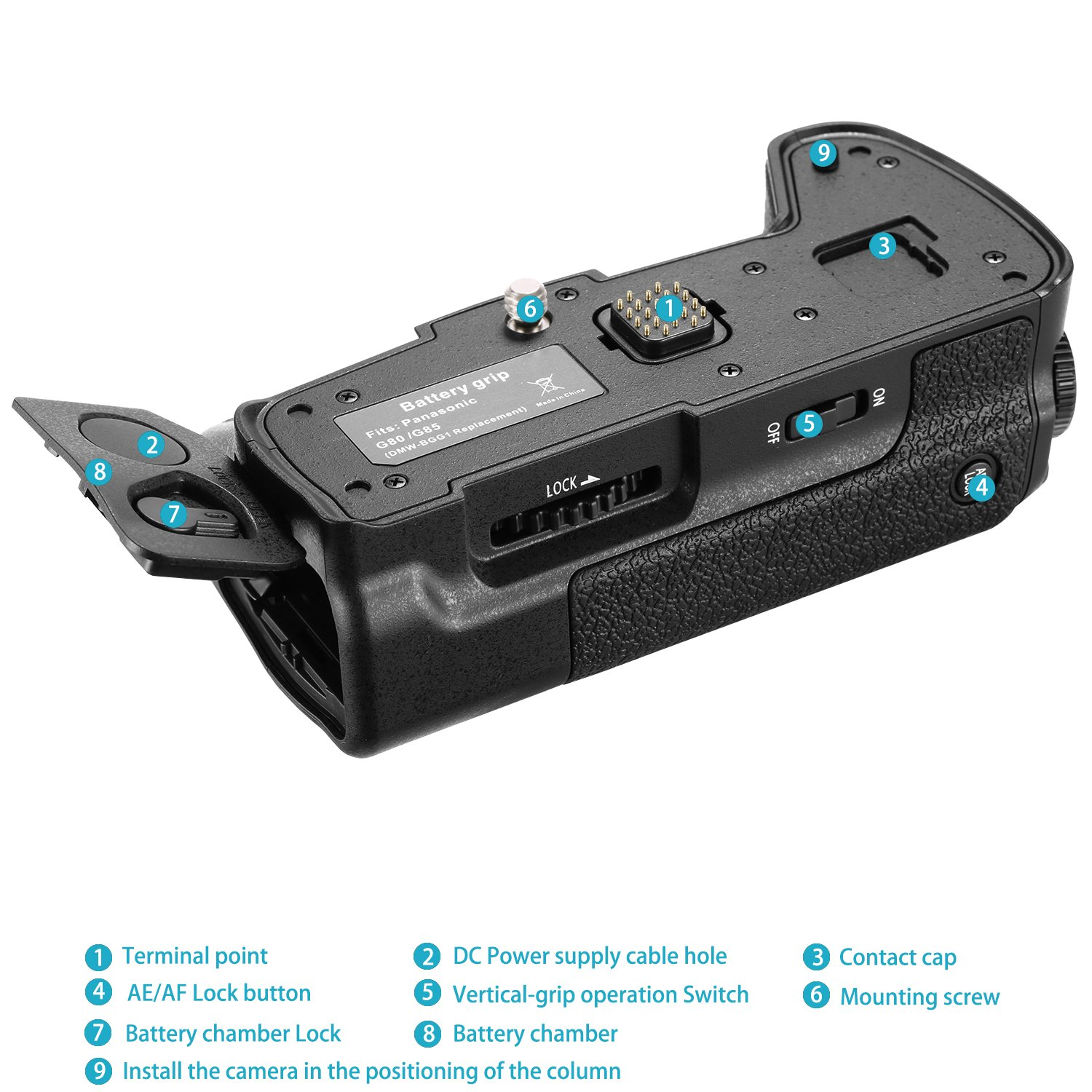 Neewer Camera Vertical Battery Grip Replacement for the Original DMW-BGG1 for Panasonic G80 G85 Camera Battery NOT Included Work with BLC12 Li-ion Battery