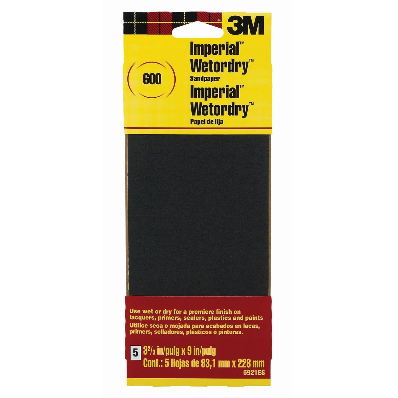 3M Sandpaper Grit 3 Inch by 9 Inch 5 Pack Sandpaper
