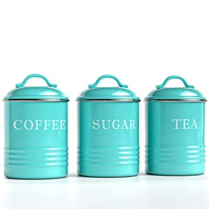 "Barnyard Designs Decorative Kitchen Canisters with Lids Turquoise Metal Rustic Vintage Farmhouse Country Decor for Sugar Coffee Tea Storage (Set of 3) (4"" x 6.75"")"