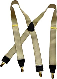 product image for Holdup Brand Corporate Series Golden Sand Satin Finish XL Suspenders with Patented Gold finished No-slip Clips