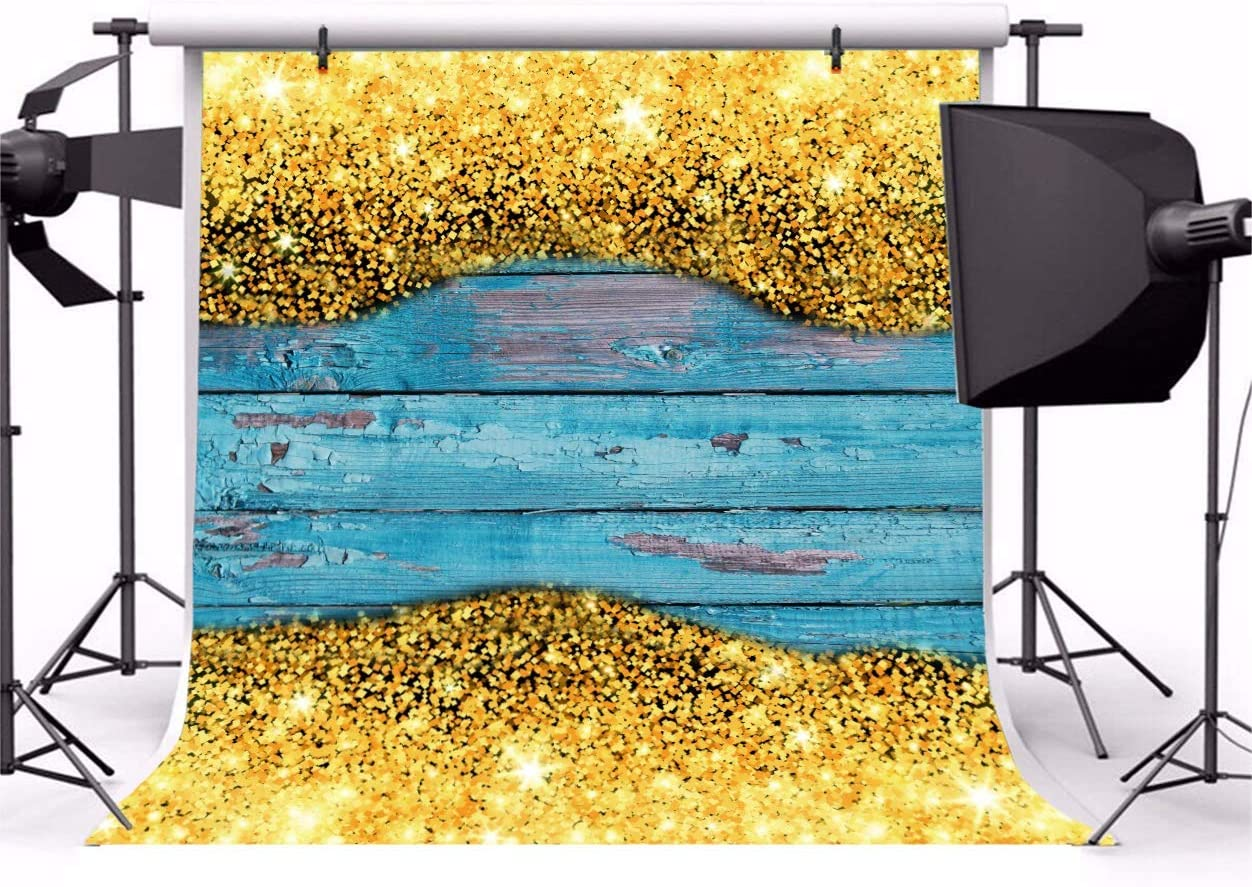 8x8ft Blue Wood Board Backdrop Polyester Photography Background Glistening Gold Particles Shiny Halos Abstract Picture Indoot Decors Wallpaper Studio Props