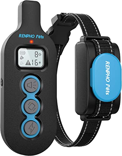 RENPHO Shock Collar for Dogs Large Breed, Dog Training Collar with Remote for Small Medium Dogs, Rechargeable Dog Shock Collar with Beep Vibration Shock, IPx7 Waterproof, 330 Yards Range